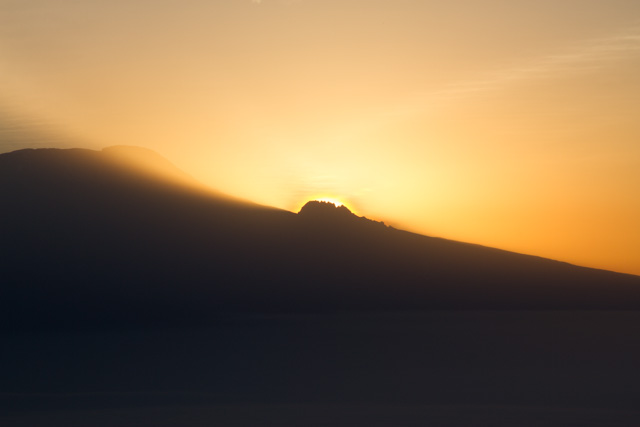 Sunrise behind Mt. Kili