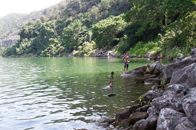 Swimming in Lake Chala