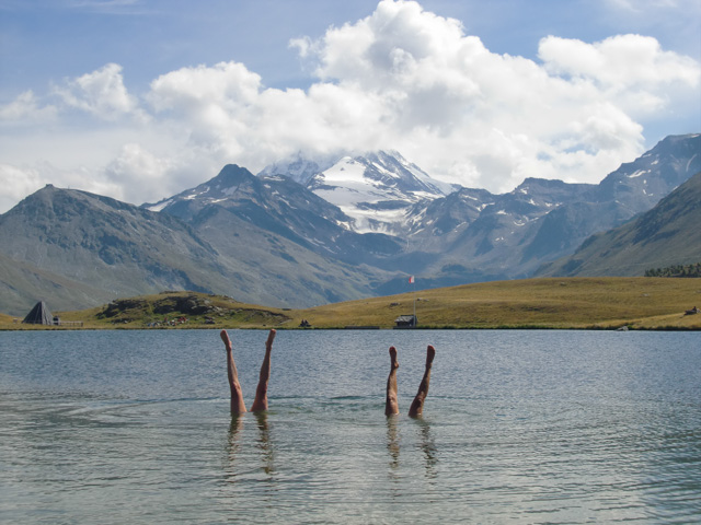 Synchronised alpine swimming in Gibidum lake