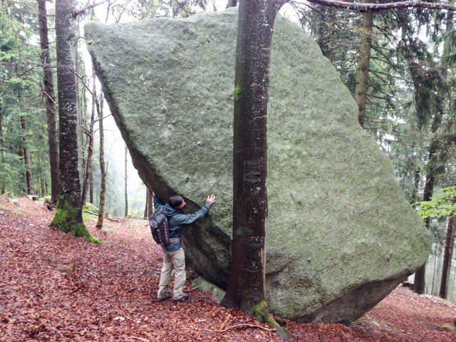 Loving embrace with a boulder