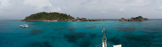 Anchoring the boat near one of the many small Similan Islands