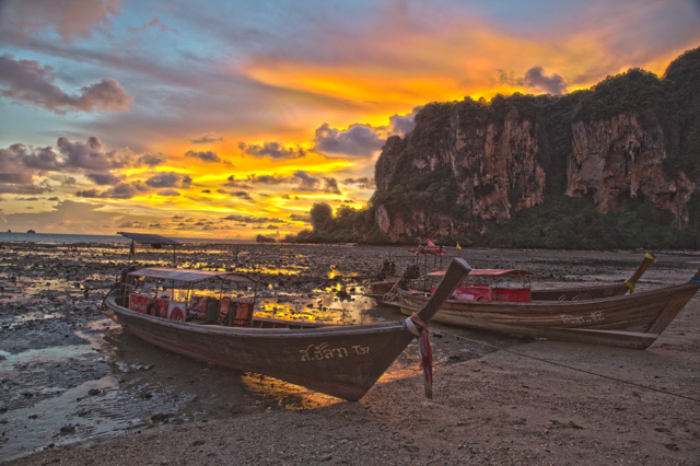 Longboats at sunset