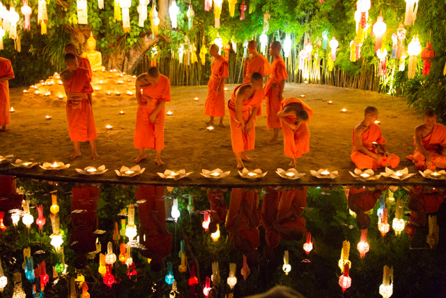 Monks floating candles