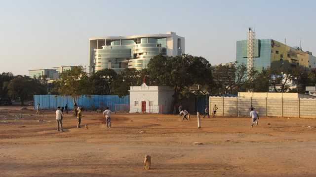 After-work dustbowl cricket match
