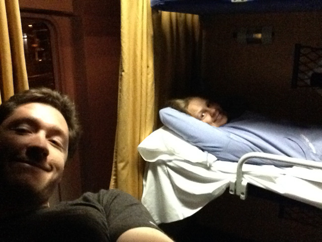In the sleeper car on the train