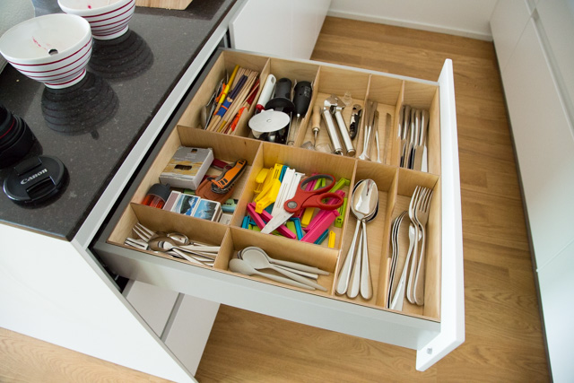 The very useful and masterfully crafted cutlery drawer organiser
