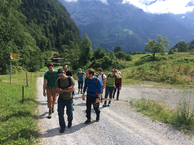 Twelve-person hiking group